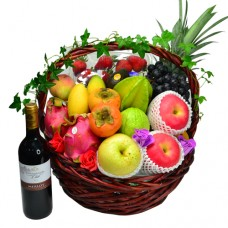 Fathers Day Seasonal Fruits Hamper with Red Wine